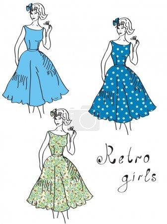 Illustration for Vintage girls in floral dresses set - Royalty Free Image