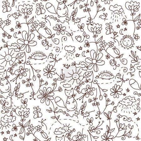 Nature seamless doodle
