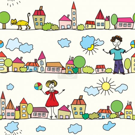 Kids seamless pattern with houses