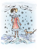 Sad girl with dog under the snow