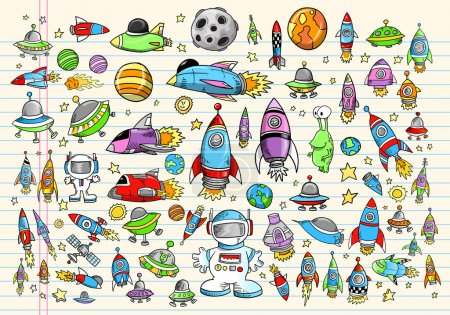 Illustration for Color Doodle Notebook Mega Space Set Vector Illustration - Royalty Free Image