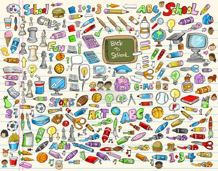 Illustration for Learning Elements Back to School Set Vector Illustration - Royalty Free Image