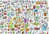 Office Food and Home Mega Elements Vector Illustration Set