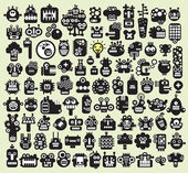 Big set of monsters and robots faces Vector illustration
