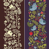 Two seamless vertical patterns with cute birds