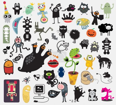 Illustration for Big set of different cute monsters. Vector icons for your design. - Royalty Free Image