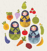 Matreshka doll and some fruits and vegetables for your design