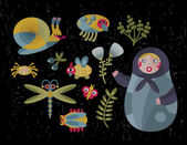 Matreshka doll and insects