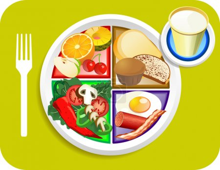 Illustration pour Illustration vectorielle des articles de petit déjeuner pour le nouveau mon assiette remplaçant la pyramide alimentaire . - image libre de droit