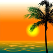 Vector Illustration of Beach Background 4 during sunset or sunrise