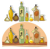 Yellow small bottles of essential oil