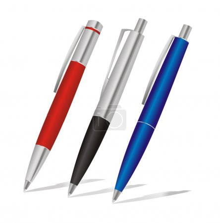 Set of colored pens: blue, black and red