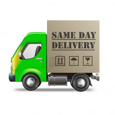Photo pour Camion de livraison même jour avec le paquet de carton isolé sur blanc - image libre de droit