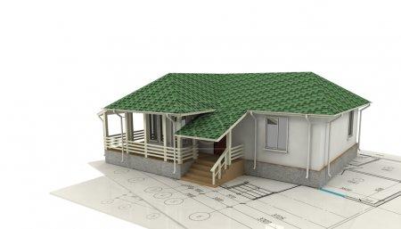 Photo pour Dessin de la maison et de son modèle 3d sur fond blanc - image libre de droit