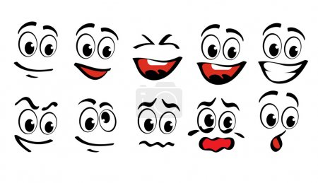 Illustration for Cartoon faces for humor or comics design - Royalty Free Image