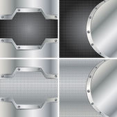 Abstract backgrounds with round metal plates and screws