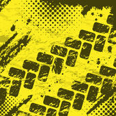 Grunge yellow background with tire tracks and halftones