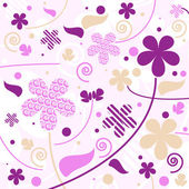 Purple floral background with different flowers and leaves