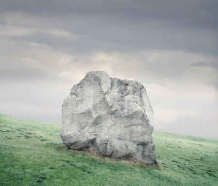 Photo pour Grosse roche sur une prairie - image libre de droit