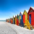 Colored bathing cabins at the seaside...