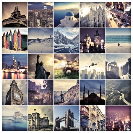 Photo for Composition of landmarks all over the world - Royalty Free Image