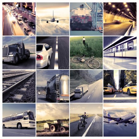 Photo for Composition of different means of transportation - Royalty Free Image
