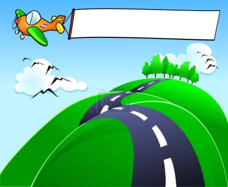 Photo pour Un avion avec la bannière volant au-dessus des collines - image libre de droit
