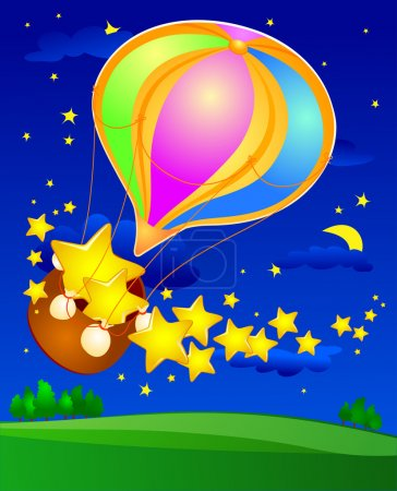 Illustration for A hot air balloon lands on spreading stars, vector - Royalty Free Image