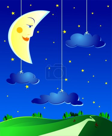 Illustration for Surreal country landscape by night, vector - Royalty Free Image