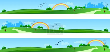 Illustration for Vector banners with landscape, three version - Royalty Free Image
