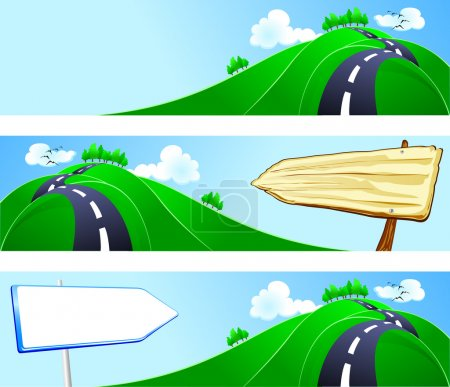 Illustration for Series of banners with country landscape, vector - Royalty Free Image
