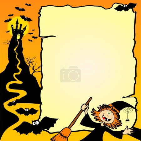 Illustration for Halloween background with hag and customizable space. Vector illustration - Royalty Free Image