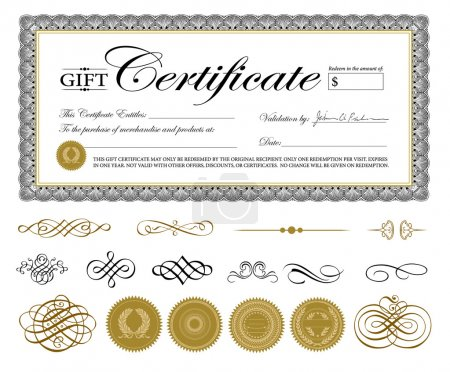 Illustration for Vector Premium Certificate Template and Ornaments. Easy to edit. Perfect for gift certificates and other awards. - Royalty Free Image