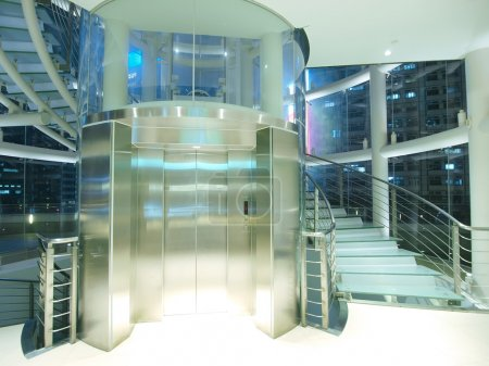Transparent elevator and staircase...