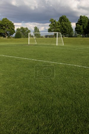 Photo for A view of a net on a vacant soccer pitch. - Royalty Free Image