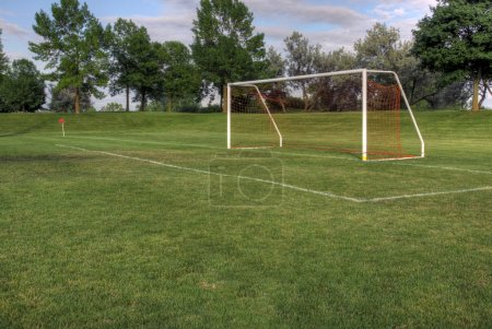 Photo for An empty soccer goal with trees in the background. (HDR photo) - Royalty Free Image