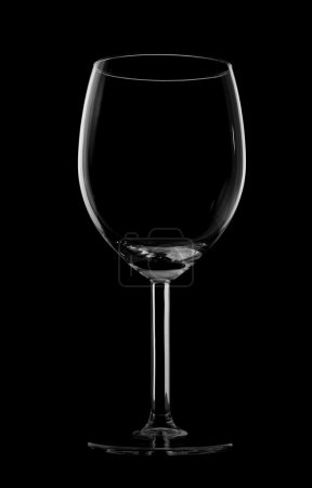 Silhouette of wine glass isolated on black