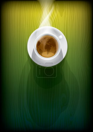 Illustration for Coffee cup with worldmap on green background, top view. Eps10 vector - Royalty Free Image