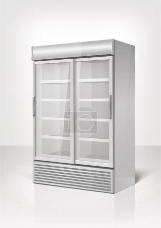 Illustration pour Réfrigérateur de merchandising avec 2 sections. Vecteur Eps10 - image libre de droit