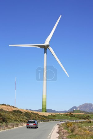 Huge sail of wind farm generator in Spain