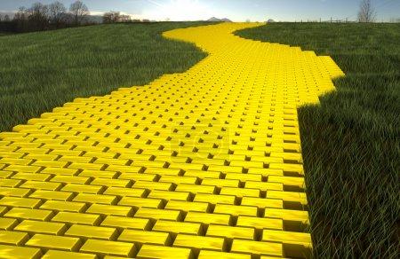 Photo pour Route d'ingod or en herbe avec ciel - image libre de droit