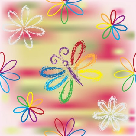 Illustration for Seamless pattern with floral rainbow composition and butterfly - Royalty Free Image