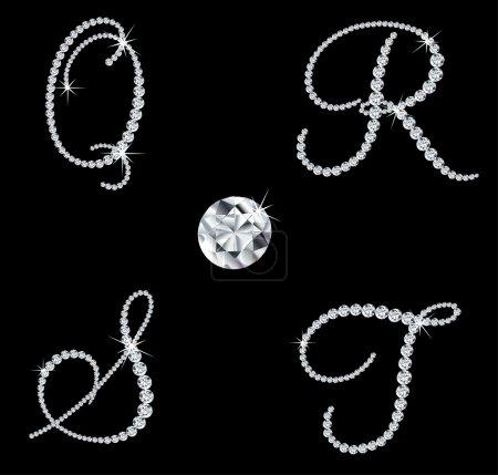Graceful diamond alphabetic letters. Vector set 5