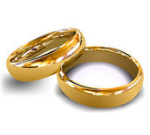 Gold wedding rings Vector illustration on white over