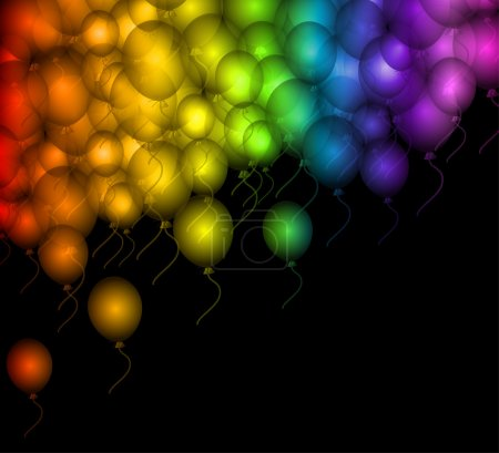 Colour balloon on black over. Vector