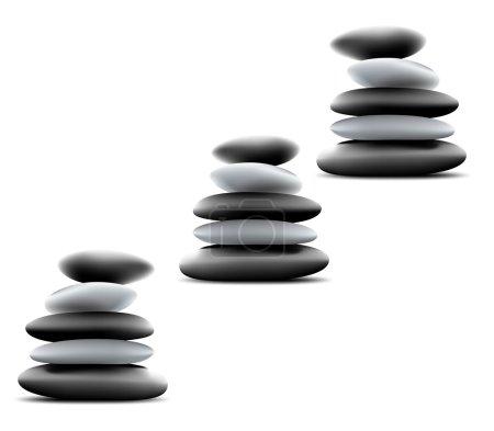 Yin Yang Pebble Stacks. Vector