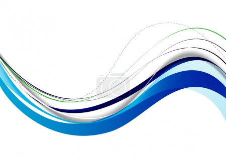 Illustration pour Bleu fond abstrait lignes ondulées sur fond blanc - image libre de droit