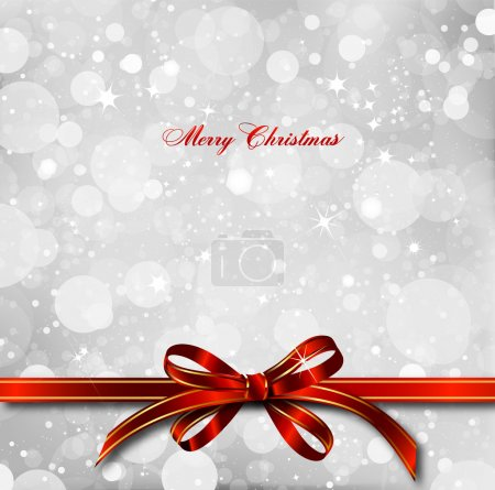 Photo for Big red bow on a magical Christmas letter. - Royalty Free Image