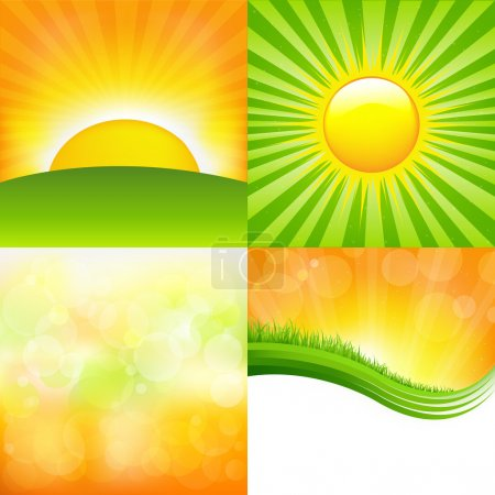 Illustration for 4 Sunburst And Abstract Backgrounds, Vector Illustration - Royalty Free Image