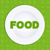White Plate With Inscription Food From Grass Vector Illustration